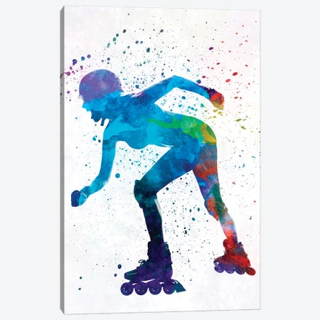Woman In Roller Skates 10 In Watercolor Canvas Print #PUR781} by Paul Rommer Art Print