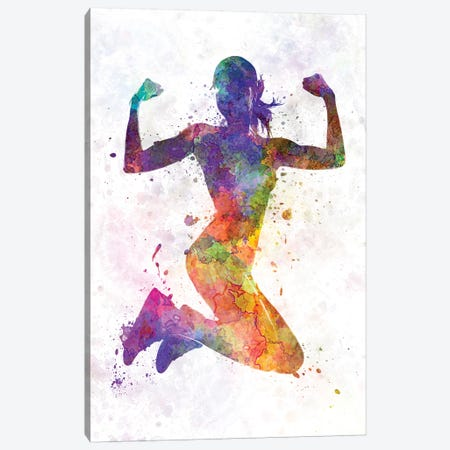 Woman Runner Jogger Jumping Powerful Canvas Print #PUR784} by Paul Rommer Canvas Art
