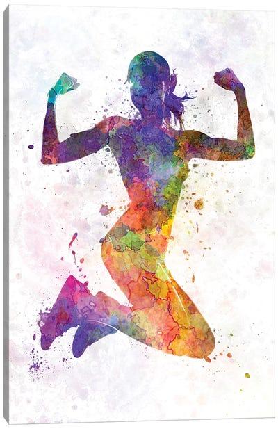 Woman Runner Jogger Jumping Powerful Canvas Art Print