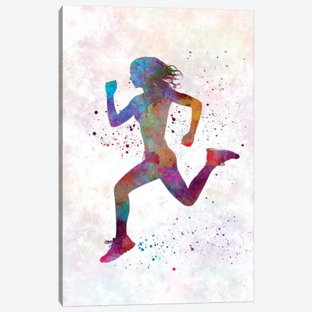 Woman Runner Running Jogger Jogging Silhouette 01 Canvas Print #PUR786} by Paul Rommer Canvas Artwork