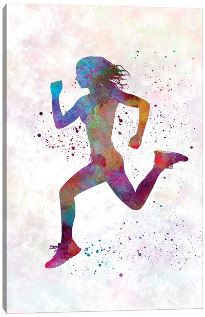 Woman Runner Running Jogger Jogging Silhouette 01 Canvas Art Print