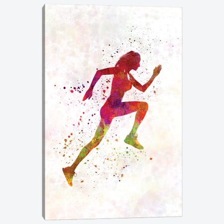 Woman Runner Running Jogger Jogging Silhouette 02 Canvas Print #PUR787} by Paul Rommer Canvas Artwork