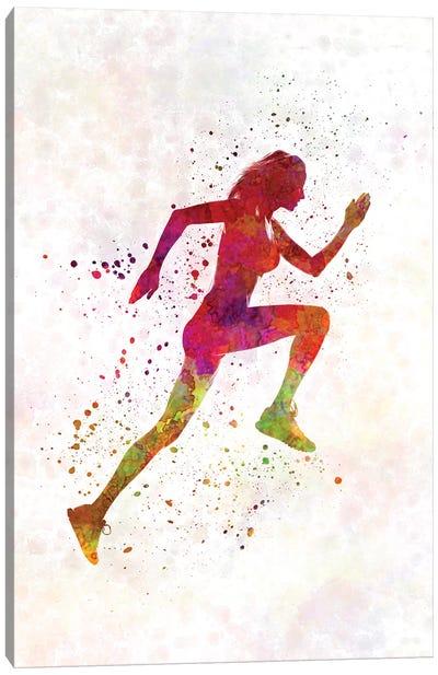 Woman Runner Running Jogger Jogging Silhouette 02 Canvas Art Print