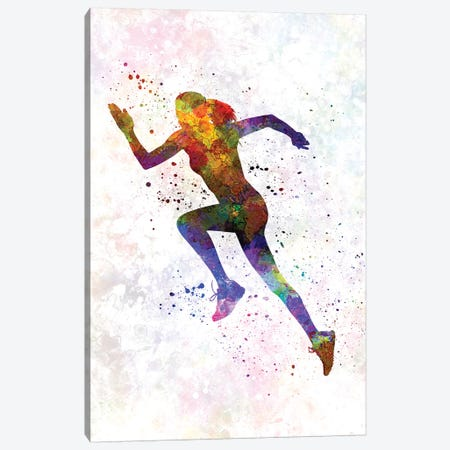Woman Runner Running Jogger Jogging Silhouette 03 Canvas Print #PUR788} by Paul Rommer Art Print