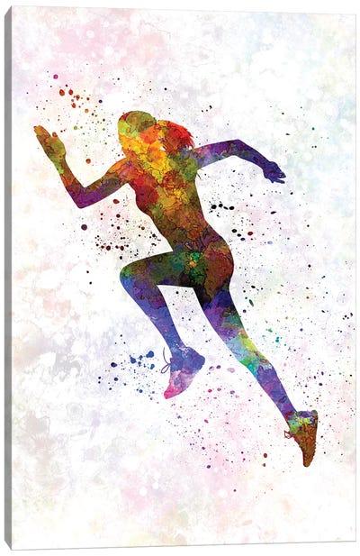 Woman Runner Running Jogger Jogging Silhouette 03 Canvas Art Print