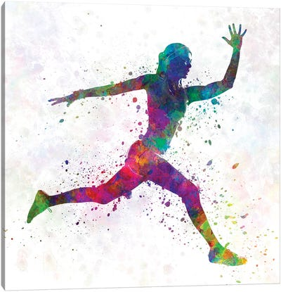 Woman Runner Running Jumping Canvas Art Print