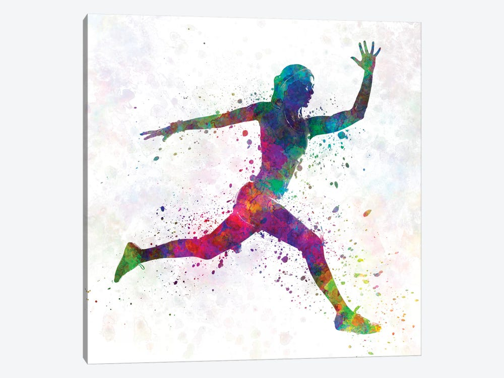 Woman Runner Running Jumping by Paul Rommer 1-piece Canvas Print