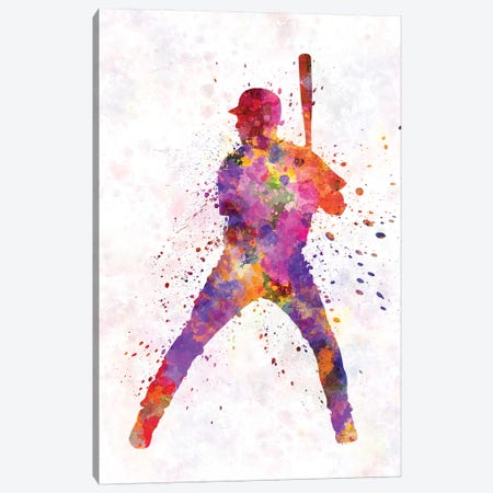 Baseball Player Waiting For A Ball I 3-Piece Canvas #PUR78} by Paul Rommer Art Print