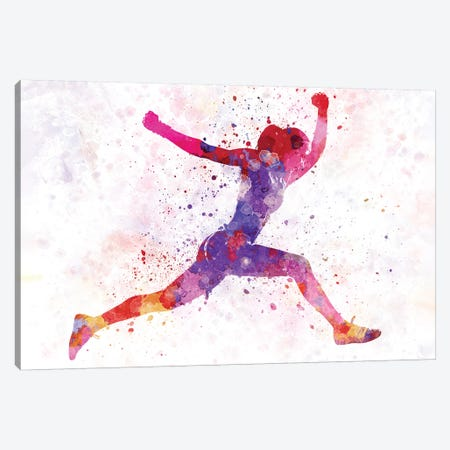 Woman Runner Running Jumping Shouting Canvas Print #PUR790} by Paul Rommer Canvas Art