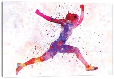 Woman Runner Running Jumping Shouting Canvas Art Print