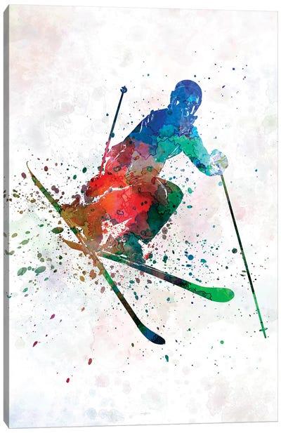 Woman Skier Freestyler Jumping Canvas Art Print