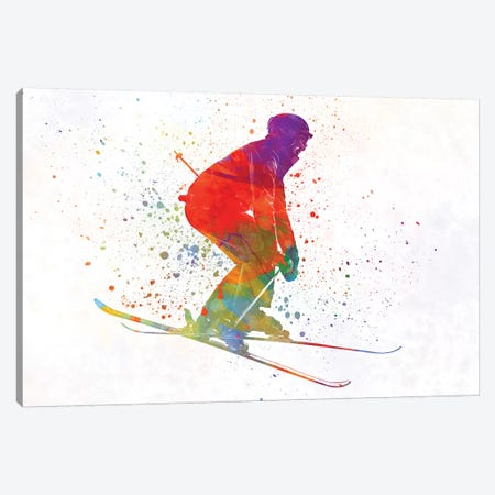 Woman Skier Skiing Jumping 02 In Watercolor Canvas Print #PUR794} by Paul Rommer Canvas Art Print
