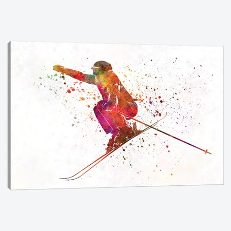 Woman Skier Skiing Jumping 03 In Watercolor Canvas Print #PUR795} by Paul Rommer Art Print