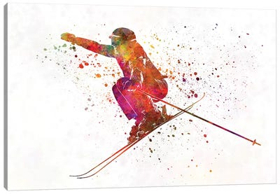 Woman Skier Skiing Jumping 03 In Watercolor Canvas Art Print