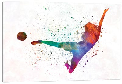 Woman Soccer Player 02 In Watercolor Canvas Art Print