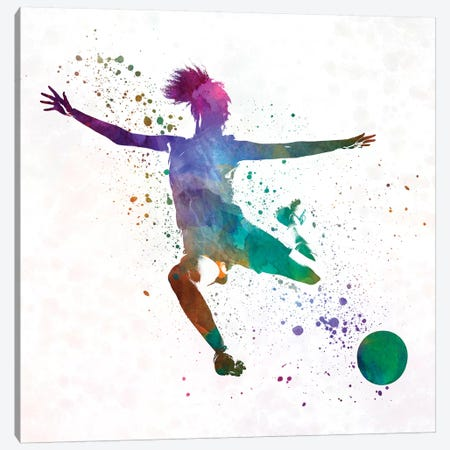 Woman Soccer Player 03 In Watercolor Canvas Print #PUR798} by Paul Rommer Canvas Artwork
