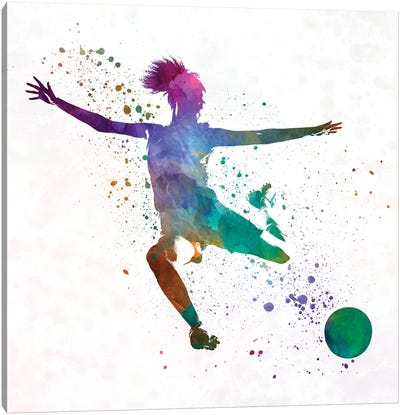 Woman Soccer Player 03 In Watercolor Canvas Art Print
