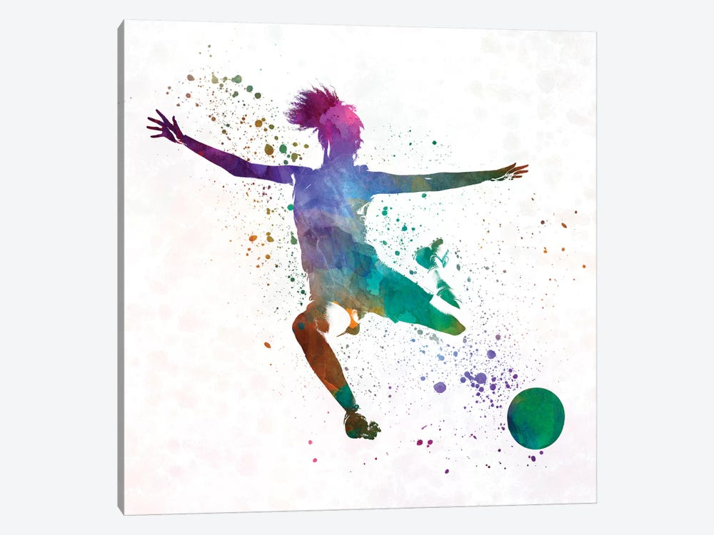 Woman Soccer Player 03 In Watercolor by Paul Rommer 1-piece Canvas Art Print