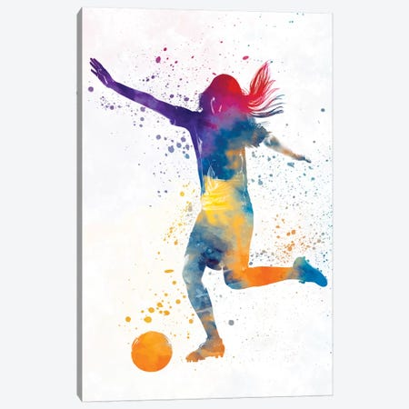 Woman Soccer Player 07 In Watercolor 2 Canvas Print #PUR802} by Paul Rommer Canvas Art