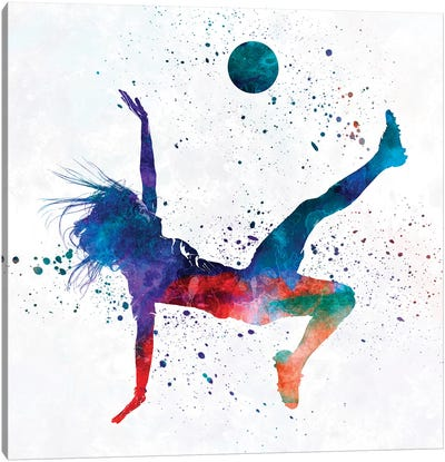 Woman Soccer Player 08 In Watercolor 2 Canvas Art Print