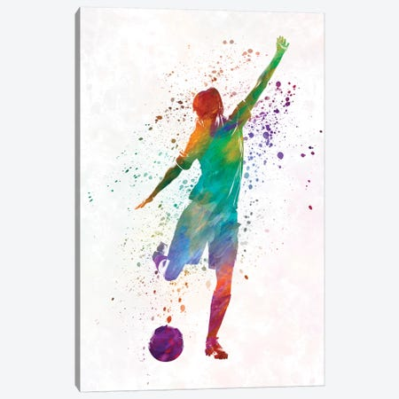 Woman Soccer Player 09 In Watercolor Canvas Print #PUR804} by Paul Rommer Art Print