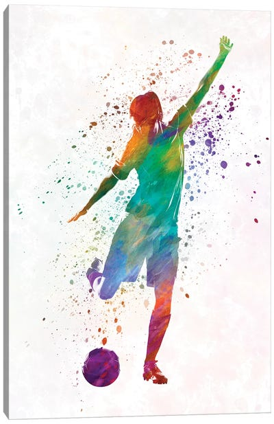 Woman Soccer Player 09 In Watercolor Canvas Art Print