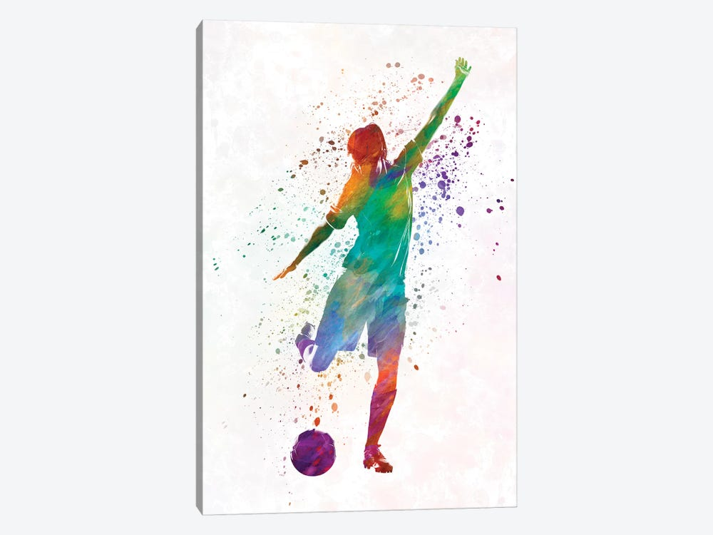 Woman Soccer Player 09 In Watercolor by Paul Rommer 1-piece Canvas Artwork