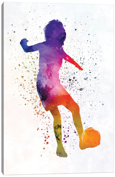 Woman Soccer Player 15 In Watercolor Canvas Art Print