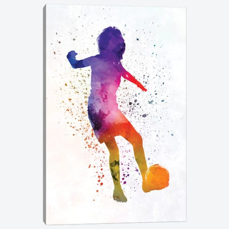 Woman Soccer Player 15 In Watercolor Canvas Print #PUR810} by Paul Rommer Canvas Print