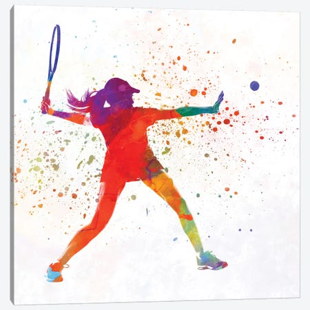 Woman Tennis Player 01 In Watercolor 3-Piece Canvas #PUR813} by Paul Rommer Canvas Print