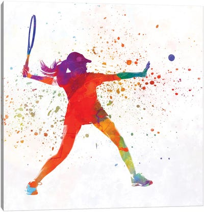 Woman Tennis Player 01 In Watercolor Canvas Art Print