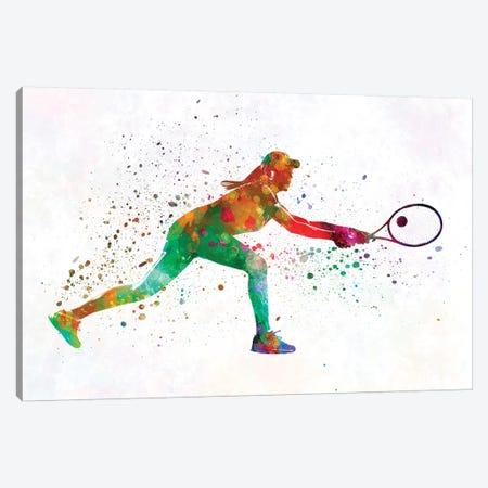 Woman Tennis Player 02 In Watercolor 3-Piece Canvas #PUR814} by Paul Rommer Canvas Art