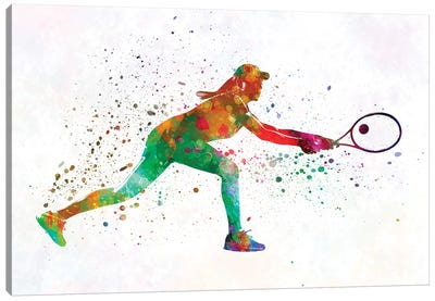 Woman Tennis Player 02 In Watercolor Canvas Art Print