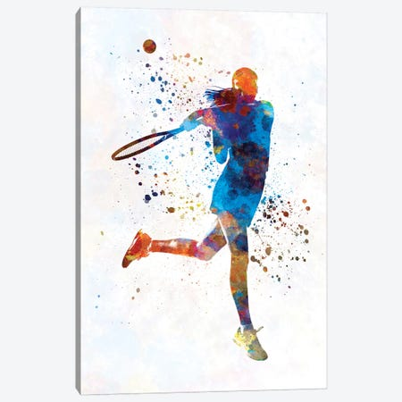 Woman Tennis Player 03 In Watercolor Canvas Print #PUR815} by Paul Rommer Canvas Wall Art