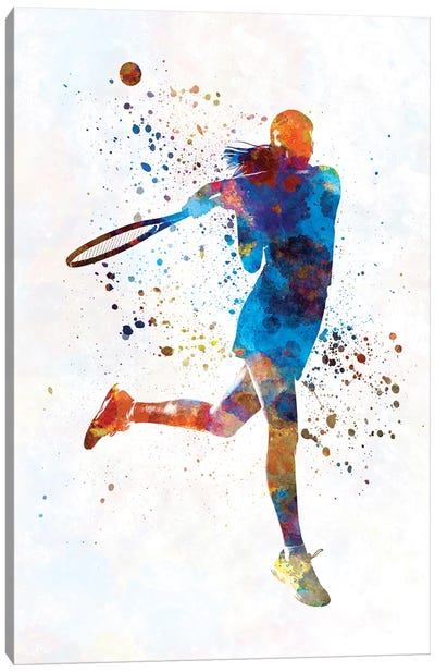 Woman Tennis Player 03 In Watercolor Canvas Art Print