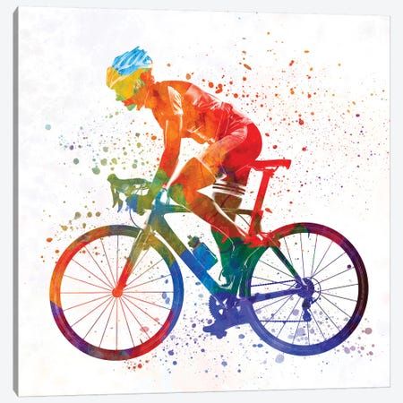 Woman Triathlon Cycling 01 3-Piece Canvas #PUR816} by Paul Rommer Canvas Artwork