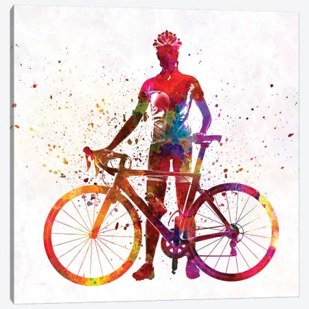 Woman Triathlon Cycling 02 3-Piece Canvas #PUR817} by Paul Rommer Canvas Wall Art