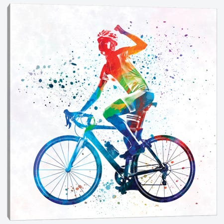 Woman Triathlon Cycling 03 3-Piece Canvas #PUR818} by Paul Rommer Art Print