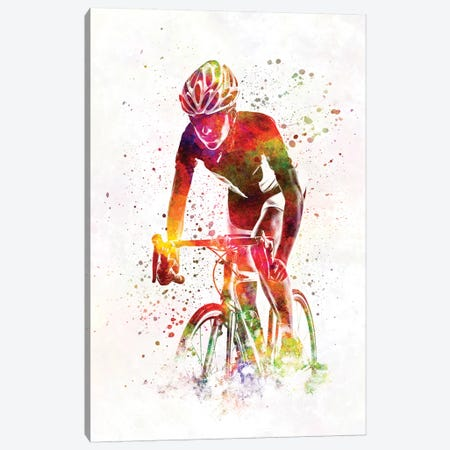 Woman Triathlon Cycling 04 3-Piece Canvas #PUR819} by Paul Rommer Canvas Art Print
