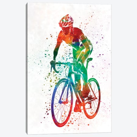 Woman Triathlon Cycling 05 3-Piece Canvas #PUR820} by Paul Rommer Canvas Artwork