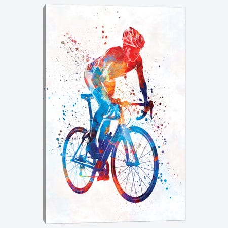 Woman Triathlon Cycling 06 3-Piece Canvas #PUR821} by Paul Rommer Canvas Wall Art