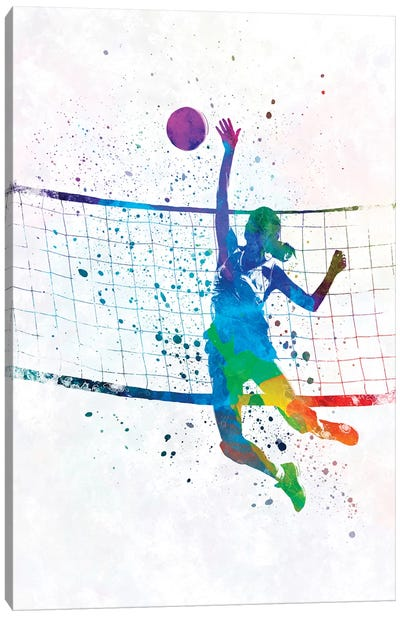 Woman Volleyball Player In Watercolor Canvas Art Print
