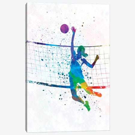 Woman Volleyball Player In Watercolor Canvas Print #PUR822} by Paul Rommer Canvas Artwork