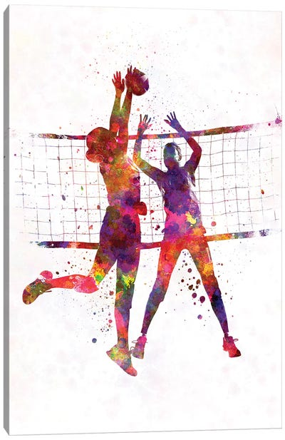 Women Volleyball Players In Watercolor Canvas Art Print