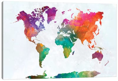 World Map In Watercolor XV Canvas Art Print