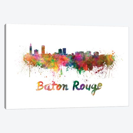 Baton Rouge Skyline In Watercolor Canvas Print #PUR83} by Paul Rommer Canvas Wall Art