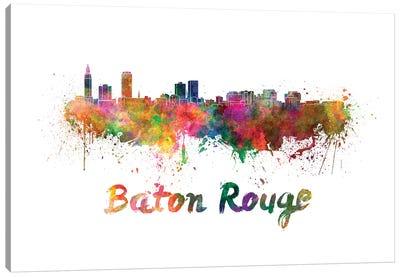 Baton Rouge Skyline In Watercolor Canvas Art Print