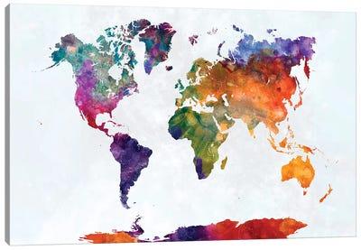 World Map In Watercolor XVI Canvas Art Print