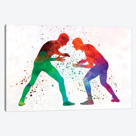 Wrestlers Wrestling Men In Watercolor I Canvas Print #PUR841} by Paul Rommer Canvas Art