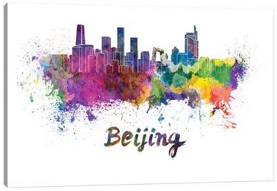 Beijing Skyline In Watercolor Canvas Art Print